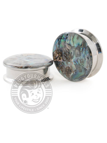 Abalone Inlay Threaded Steel Plugs - Plugyourholes.com