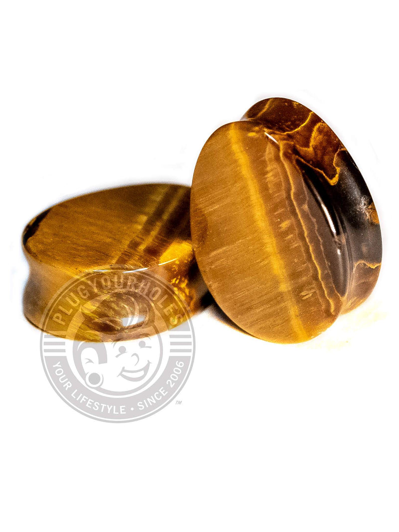 Tiger's Eye Stone Teardrop Plugs