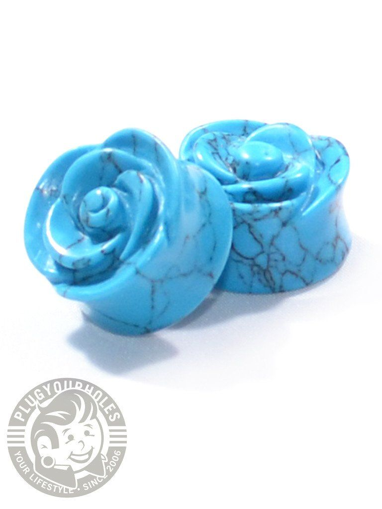 Turquoise Rose Cut Stone Plugs - Plug Your Holes - Your Lifestyle, Since 2006.