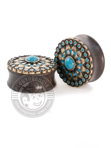 Tribal Sun Turquoise Center Ebony Wood Plugs