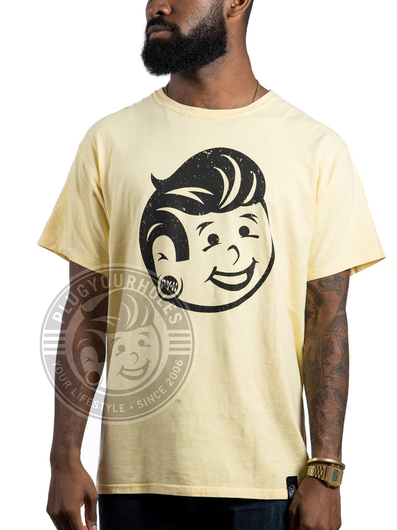 Plug Boy Distressed - Yellow - Comfort Wash Unisex Tee