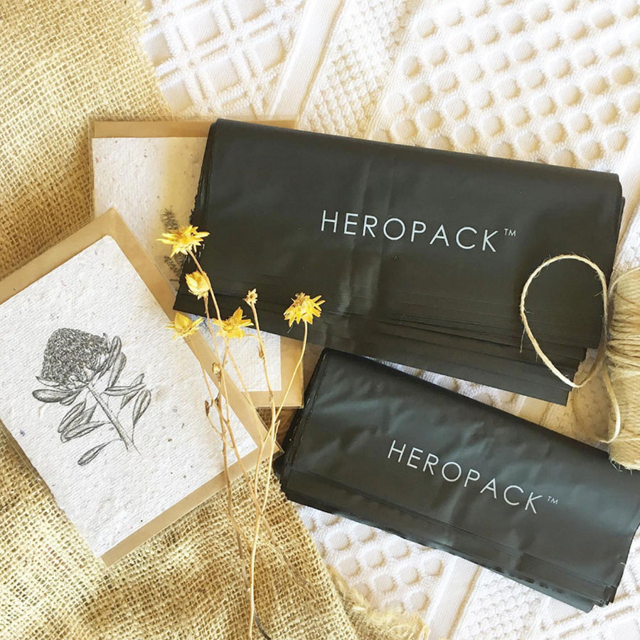 Black Home Compostable HEROPACK Mailers - from packs of 25