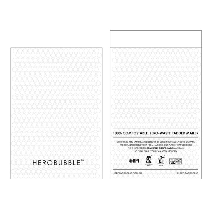 PRE-ORDER - Compostable HEROBUBBLE Padded Shipping Mailer in White - From Packs of 25