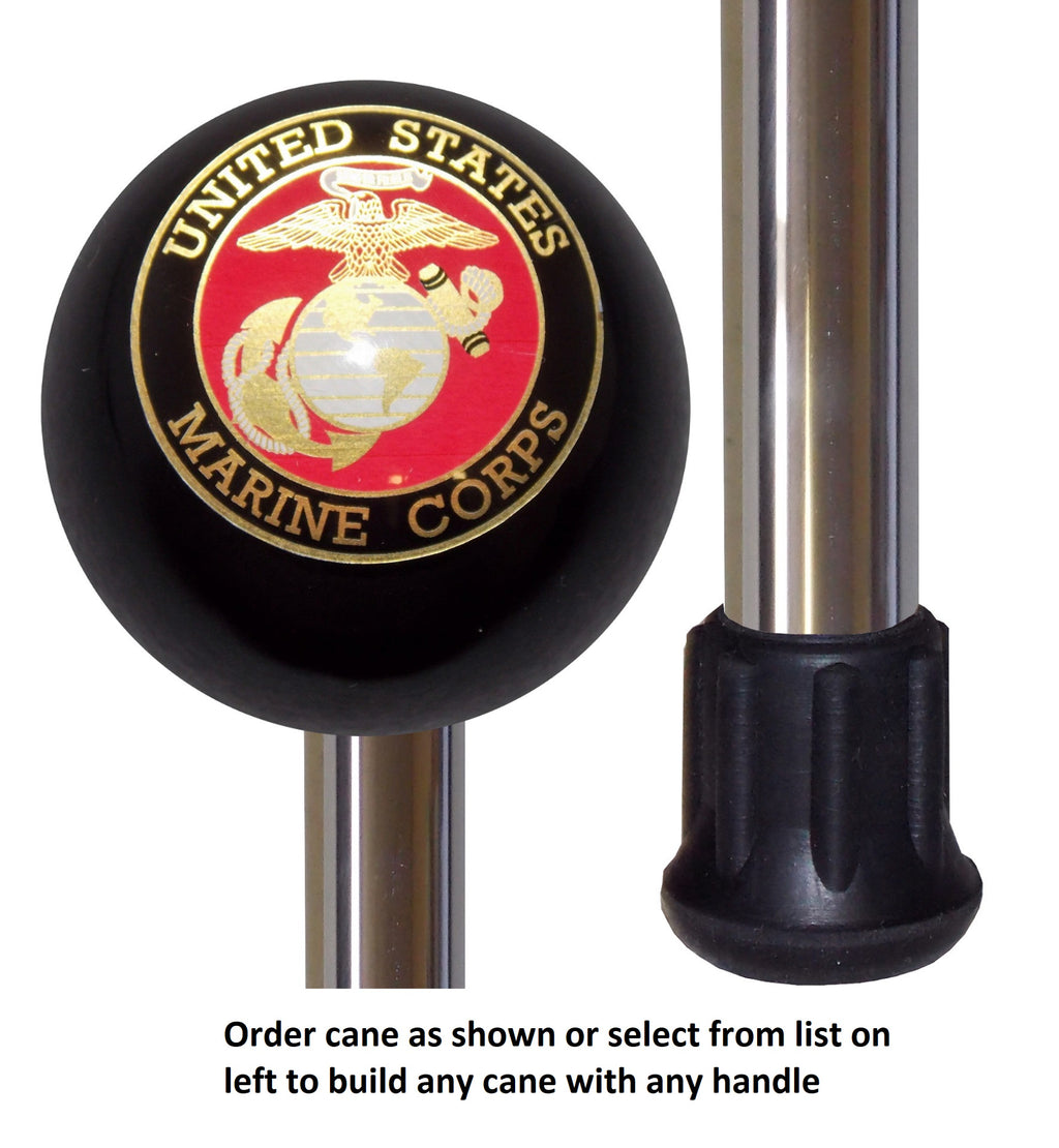 Custom Cane Polished Aluminum Standard Duty US Marine Corps Handle Cane