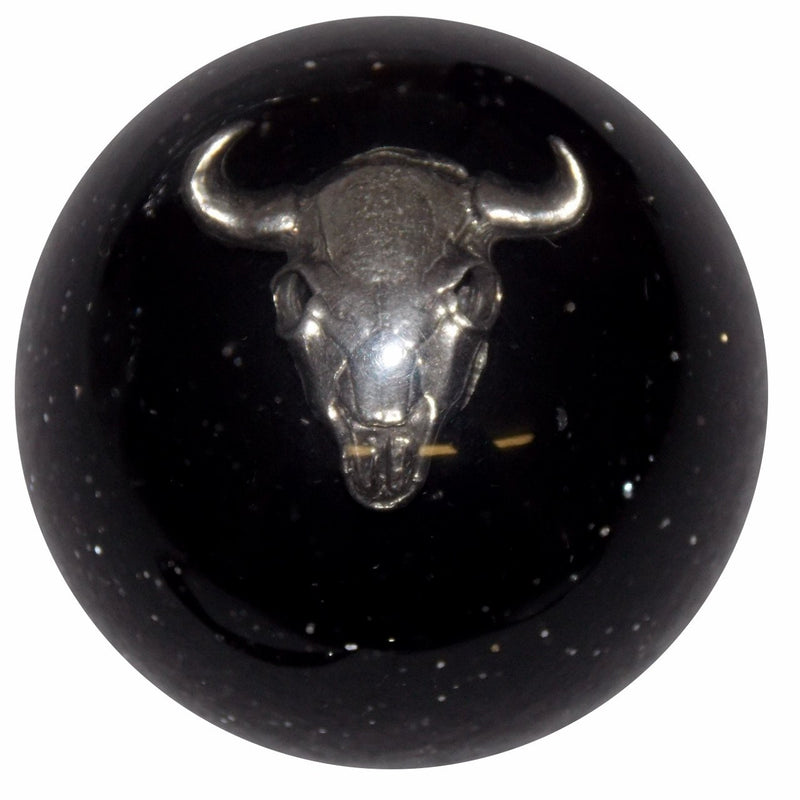 Black Glitter Cow Skull handle cane