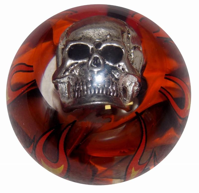 Smoky Orange Flame Skull handle cane
