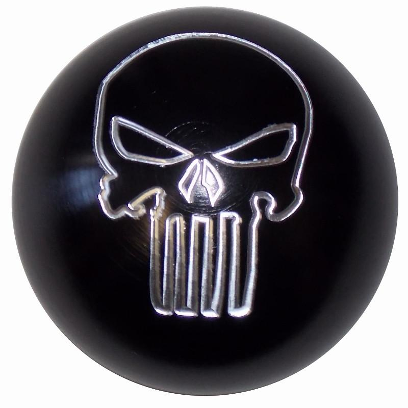 Punisher Skull Brushed Aluminum Black handle cane
