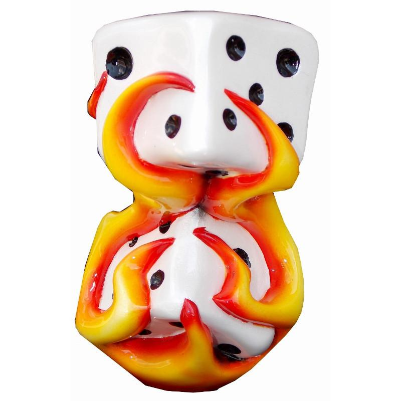 Orange Flaming Dice handle cane