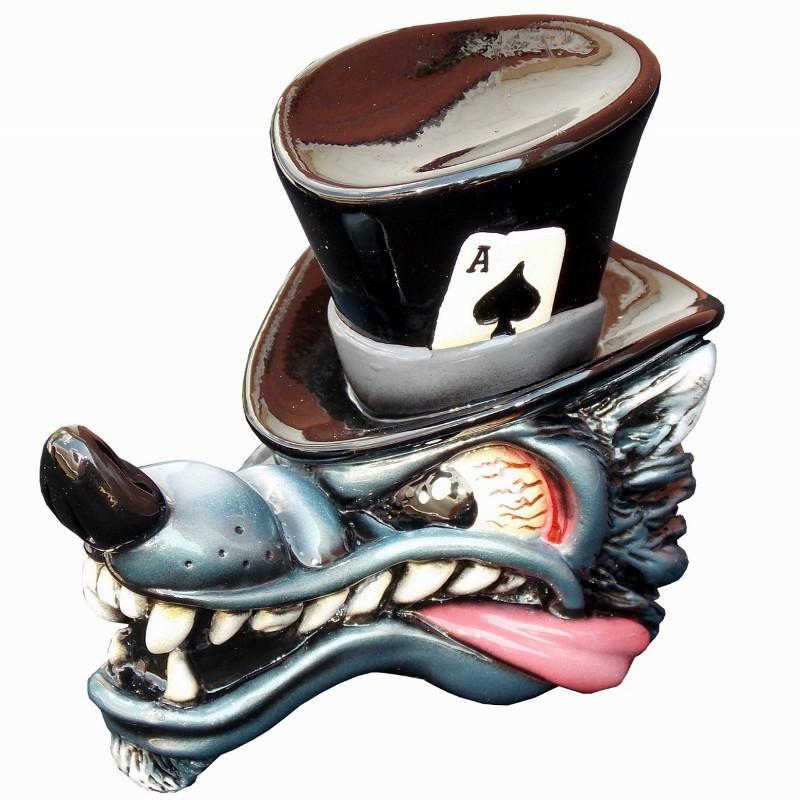 Top Hat Wolf - Black handle cane