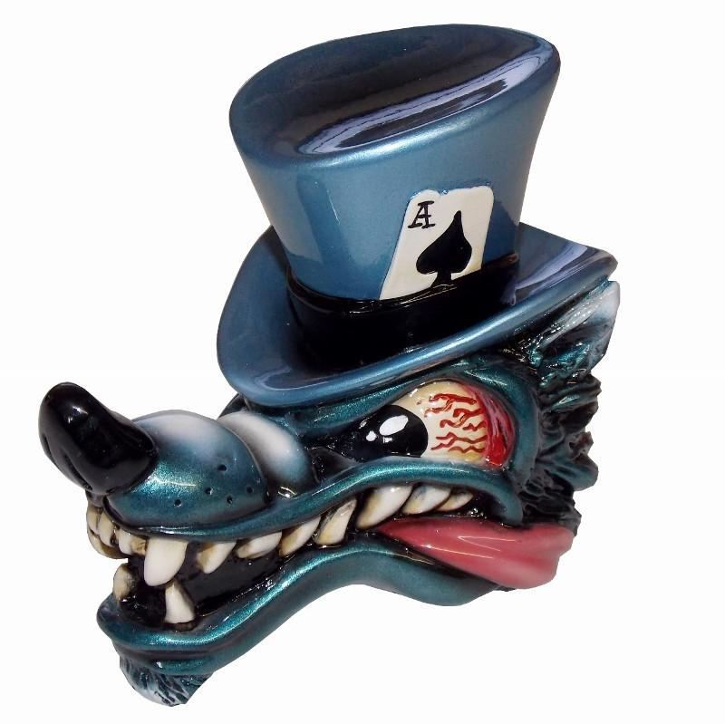 Top Hat Wolf- Blue handle cane