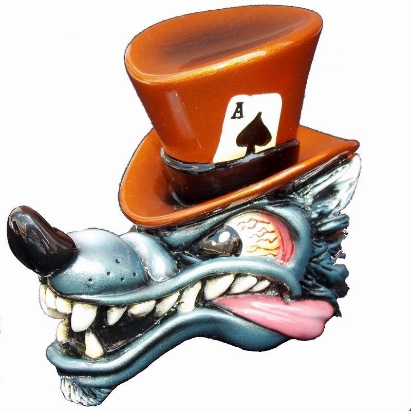 Top Hat Wolf-Metallic Pumpkin handle cane