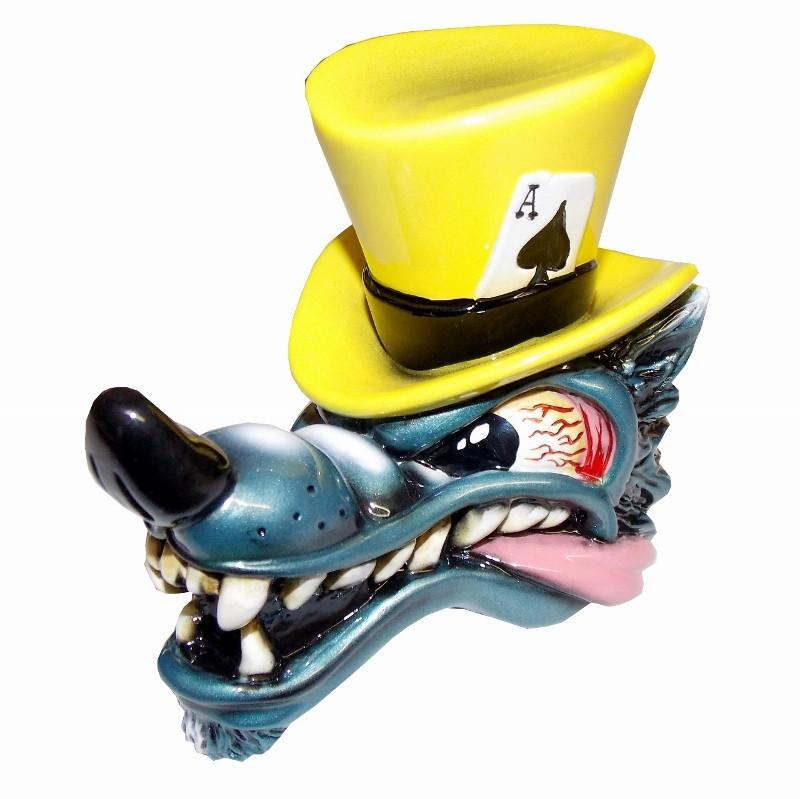 Top Hat Wolf - Yellow handle cane