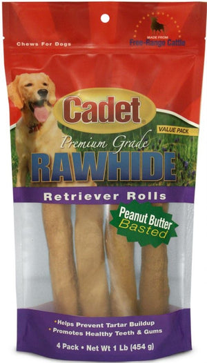 Cadet Rawhide Retriever Peanut Butter Flavor Rolls for Dogs