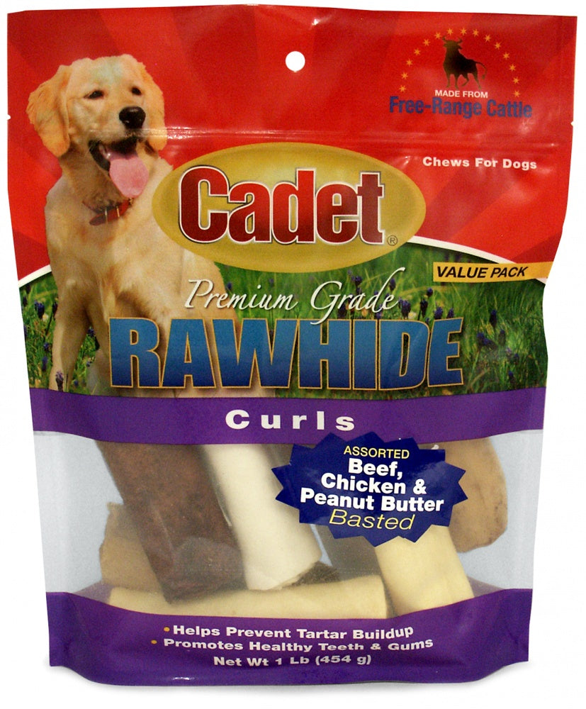 Cadet Rawhide Assorted Flavors Curls for Dogs