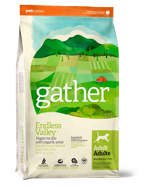 Petcurean Gather Endless Valley Grain Free Vegan Recipe with Organic Peas Adult Dry Dog Food