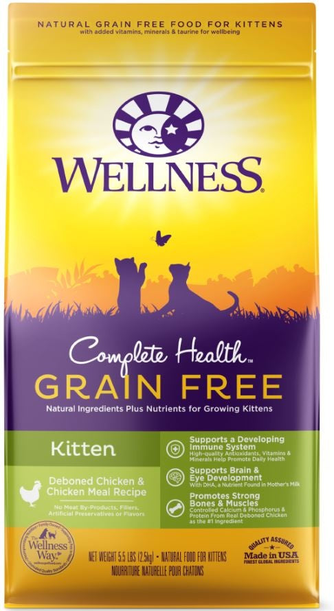 Wellness Complete Health Natural Kitten Grain Free Deboned Chicken and Chicken Meal Dry Cat Food