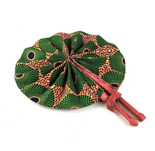 Green & Orange Circle Print Folding Hand Fan - Harambee Crafts