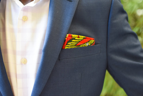 RED, YELLOW AND BLUE LEAF MEN'S AFRICAN POCKET SQUARE - Harambee Crafts