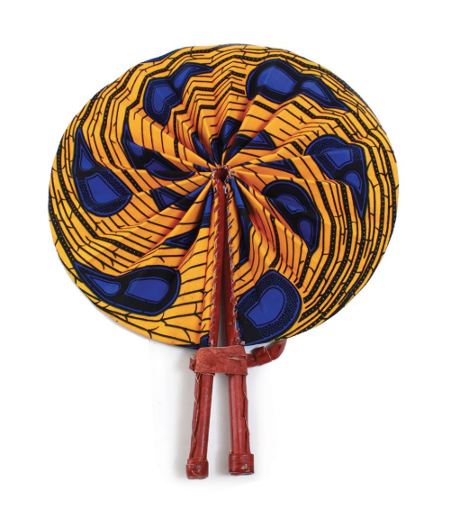 Orange Peacock Folding Hand Fan - Harambee Crafts
