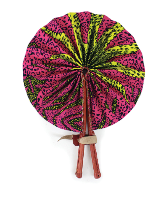 Pink and Yellow Sun Folding Hand Fan - Harambee Crafts