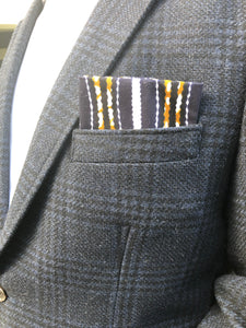 BLUE AND GOLD STRIPED MEN'S AFRICAN POCKET SQUARE - Harambee Crafts