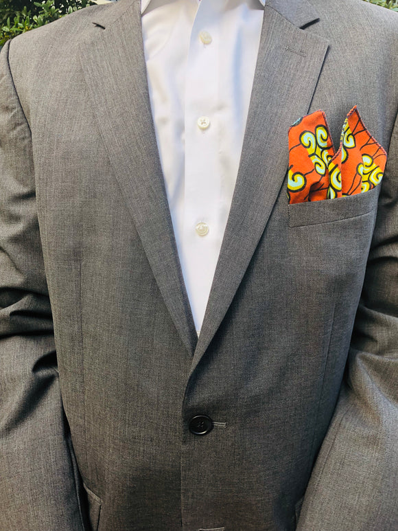SPICED ORANGE MEN'S AFRICAN POCKET SQUARE - Harambee Crafts