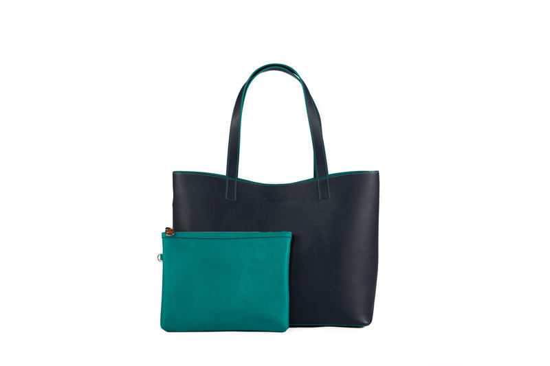 Chelsea Tote - Two Tone in Green
