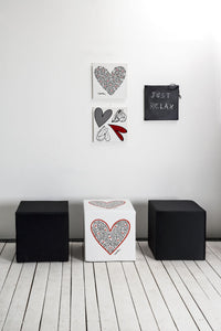 "Cubou Pouf ""Single Heart"" Sitzwürfel, Hocker, Tisch-2"