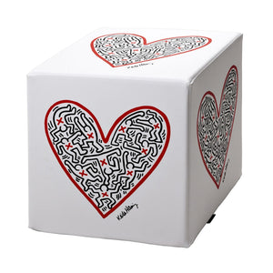 "Cubou Pouf ""Single Heart"" Sitzwürfel, Hocker, Tisch"