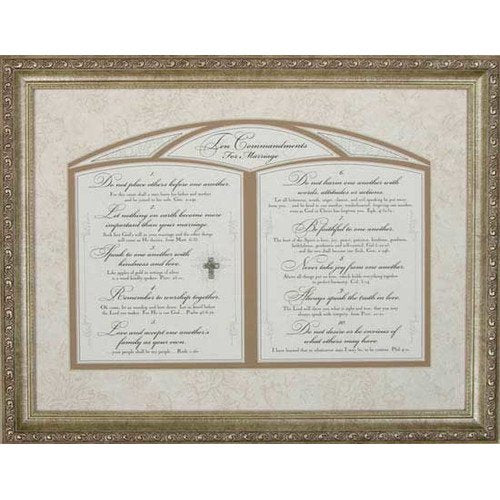 Ten Commandments for Marriage Glass Frame