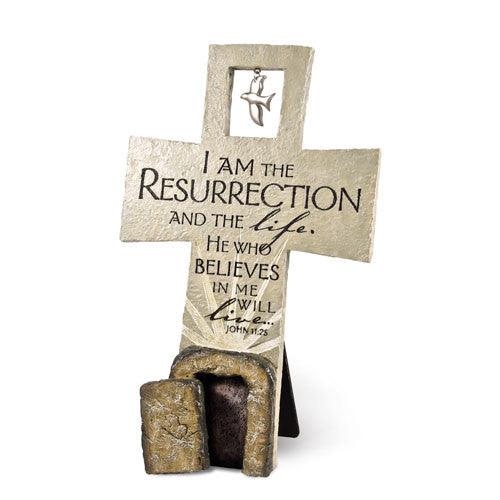 Resurrection Sculpture Cross- Desktop/Wall