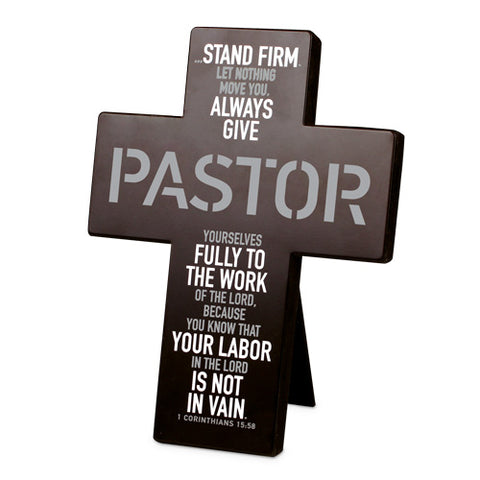 STEADFAST PASTOR CROSS DESKTOP BLACK/METAL