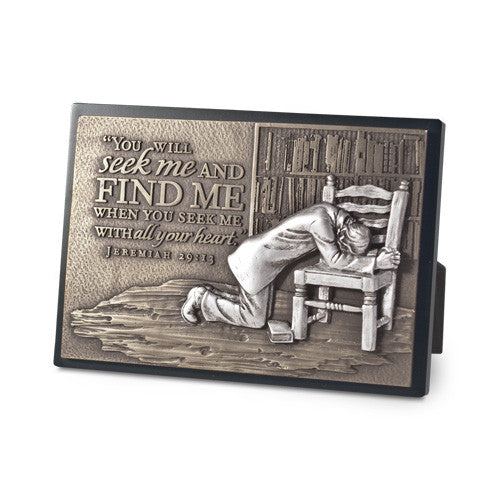 Praying Man Sculpture Desk Plaque
