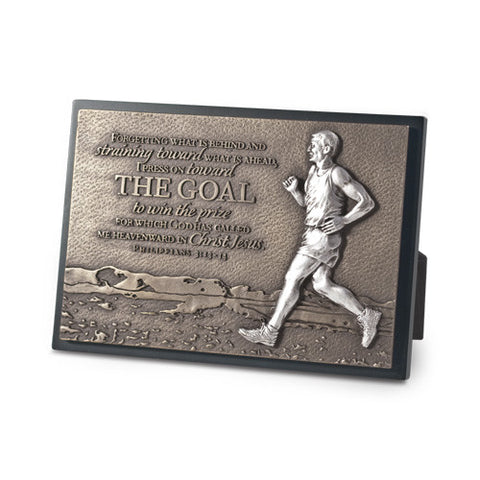 Goal Runner Sculpture Desk Plaque