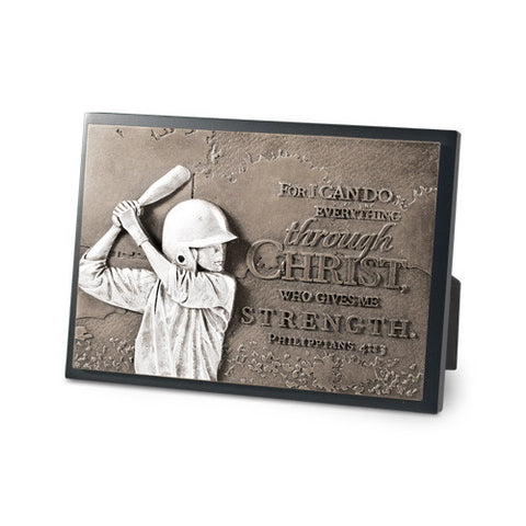 Baseball Determination Sculpture Desk Plaque