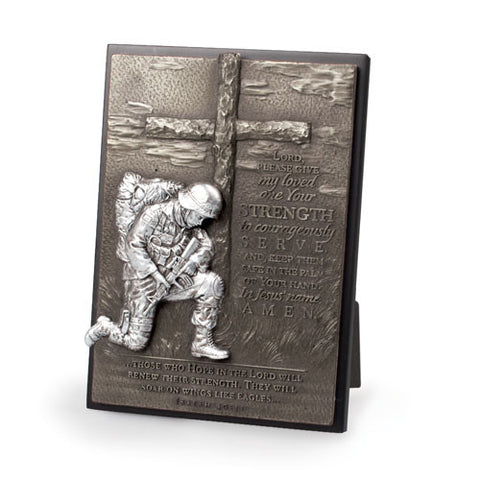 Kneeling Soldier Sculpture Desk Plaque