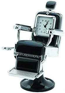 BARBER CHAIR BLACK & SILVER CLOCK