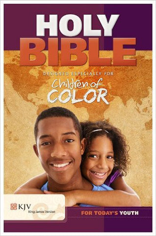 CHILDREN OF COLOR HOLY BIBLE KJV BLUE LEATHER LIKE