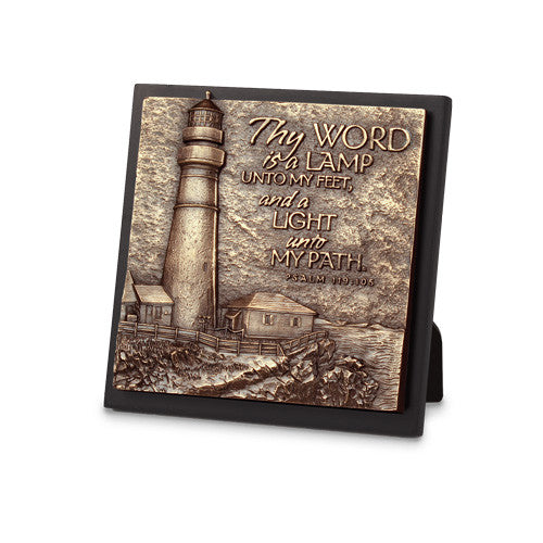 Lighthouse On A Cliff Sculpture Plaque