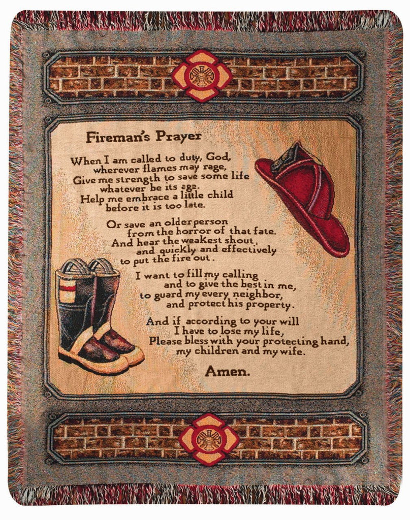 FIREMAN'S PRAYER TAPESTRY THROW 50