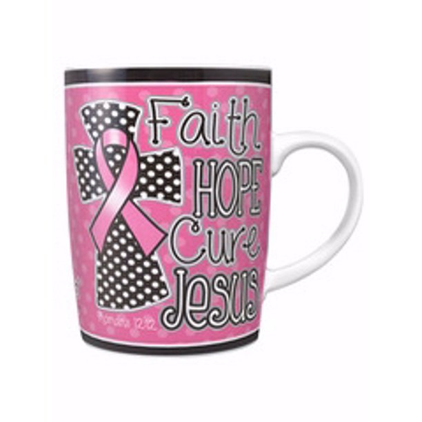 FAITH HOPE CURE CANCER AWARENESS MUG PINK