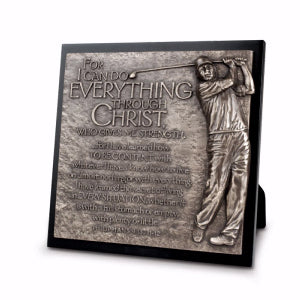 GOLFER BRONZE SCULPTURE PLAQUE I CAN DO ALL THINGS....