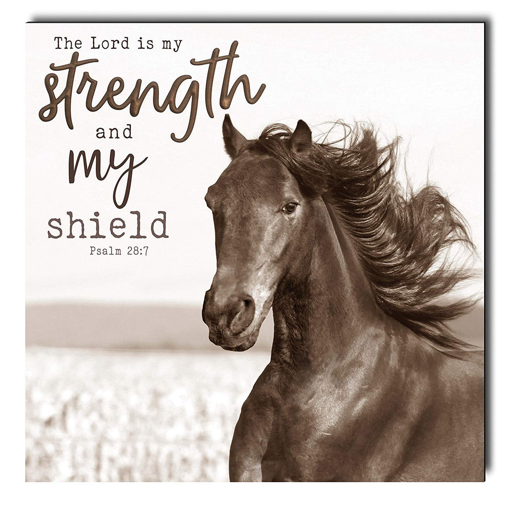 THE LORD IS MY STRENGTH HORSE WALL ART