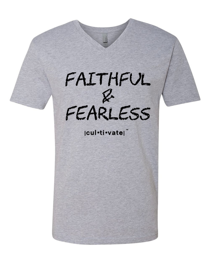 Cultivate Men's Faithful & Fearless V-Neck Shirt