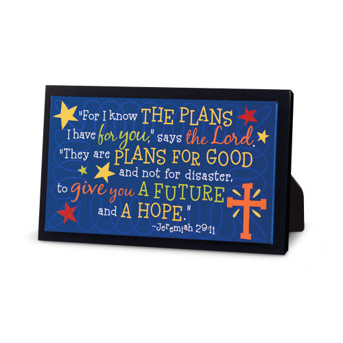 FOR I KNOW THE PLANS COLORFUL GRADUATE PLAQUE