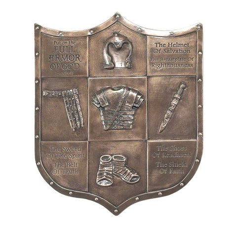 FULL ARMOR OF GOD SHIELD WALL PLAQUE