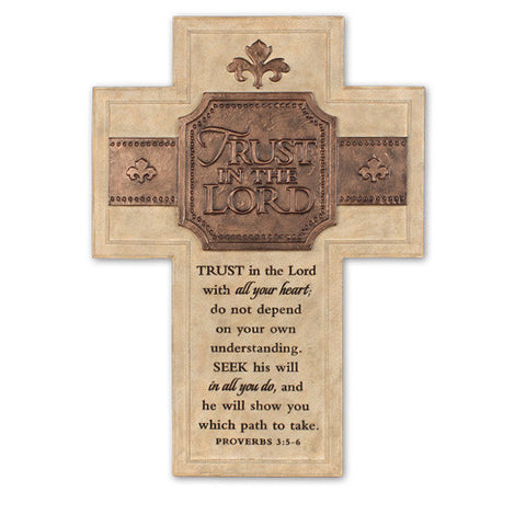 TRUST IN THE LORD CAST STONE CROSS
