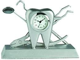 DENTIST SILVER DESK CLOCK