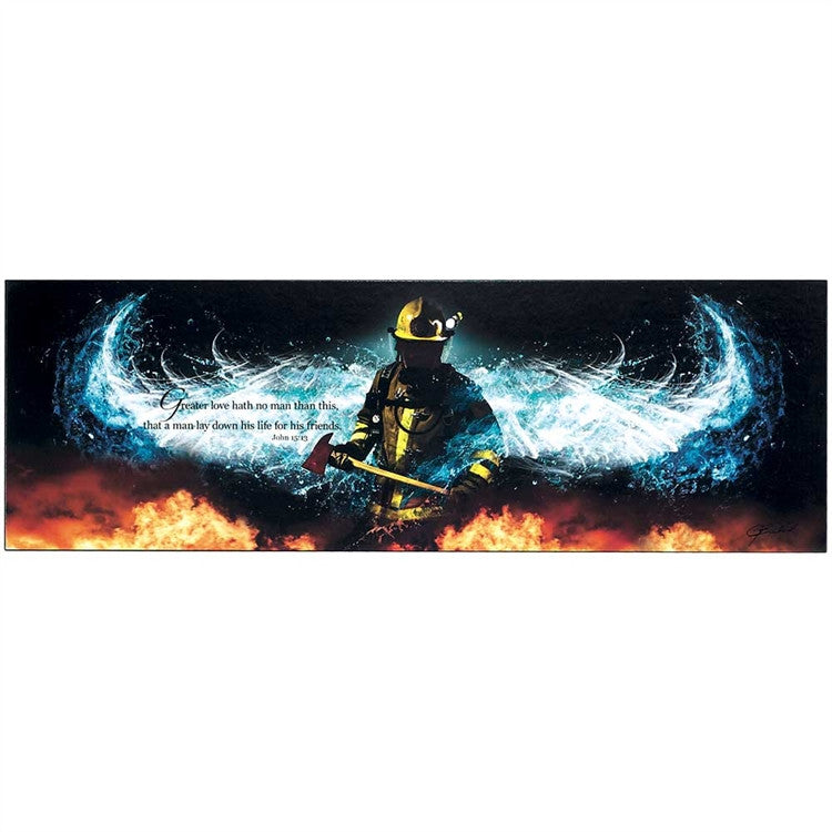 Firefighter Greater Love Hath No Man Angel Wings
