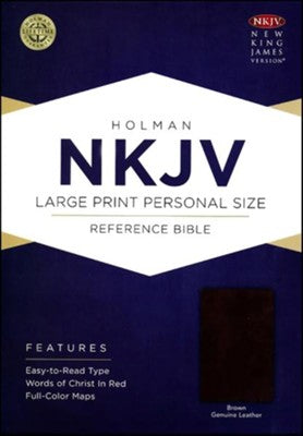 NKJV Large Print Personal Size Reference Bible Brown Genuine leather